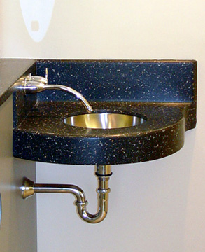 Formed Corian sink unit at Dr. Harvey Clinic