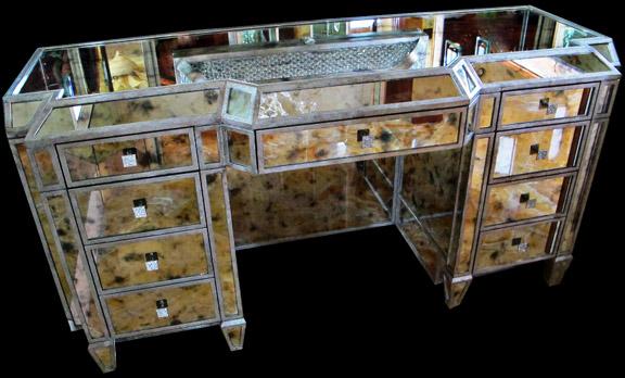 Onyx & Sapele Masterbath with mirrored dressing vanity