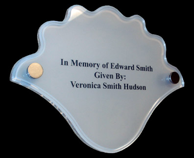 Cut & polished acrylic shell shape with engraved interleave, mounted with brushed stainless hardware